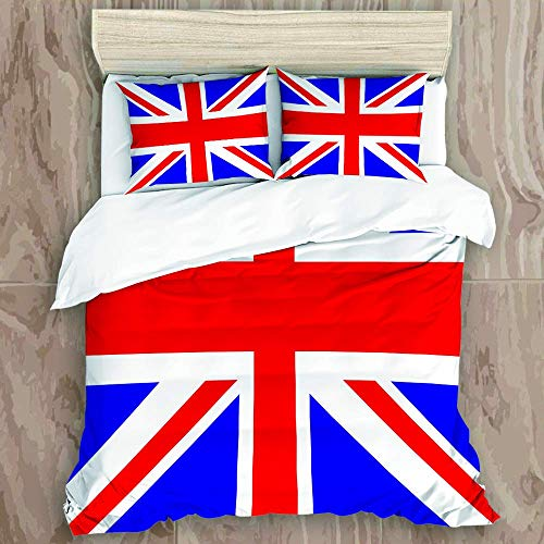 Bedding Duvet Cover Set with Zipper Closure - Flag Of The United Kingdom - Brushed Microfibre Duvet Cover with Pillowcases-Single(135 * 200cm)