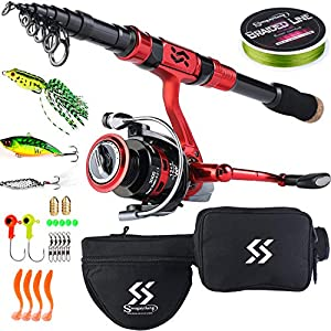 Sougayilang Fishing Rod Reel Combos Portable Telescopic Spinning Fishing Pole Spinning Reel for Travel Fishing-Red1.8M