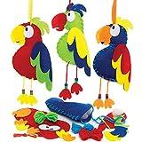 Baker Ross AT689 Kit Decorazione Pappagallo, per progetti di artigianato artistico per bambini (confezione da 3), assortiti