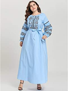 Plus Size Women Loose Maxi Dress Muslim Embroidery Puff Sleeve Abaya Robe Gown Autumn Dress Islamic Clothing