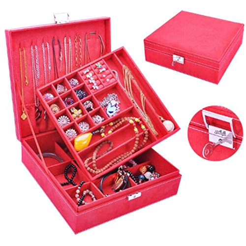 #N/A Organizador de joyas multicapa de gran capacidad con cierre, collar, anillo, pulsera, pendientes (rojo)