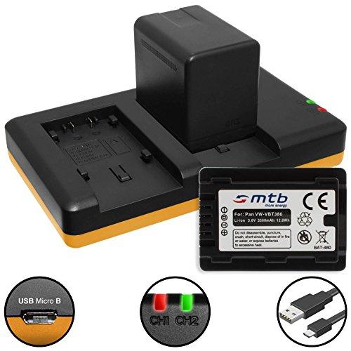 2 Batterie [3560mAh] + Caricabatteria doppio (USB) per VW-VBT380 / Panasonic HC-V130, V160, 270, 380, V727, V777 v. lista! con Infochip (con indicazione del tempo rimanente di ripresa!)