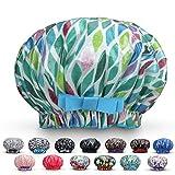 Waterproof Reusable Women Shower Caps 100% Cotton Print Bath Caps Hat Long Hair Perfect for Women (Green Prism)