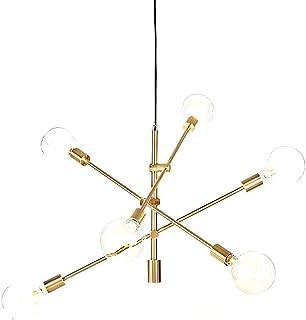 YOKA Pendant Light Polished Gold Contemporary Stem Hung Chandelier Fixture Modern Lamp 6 Lights Hanging Flush