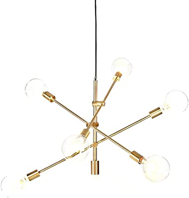 BAODEN Ceiling Light Fixture Industrial Metal Flush Mount Light Polished Gold Ceiling Lamp with 5 Lights Creative Modern Chandelier for Dining Room