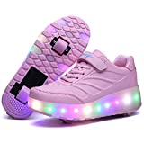 Nsasy Roller Shoes Roller Skates Shoes Girls Boys Wheel Shoes Kids Wheel Sneakers Roller Sneakers Shoes with Wheels Pink 33