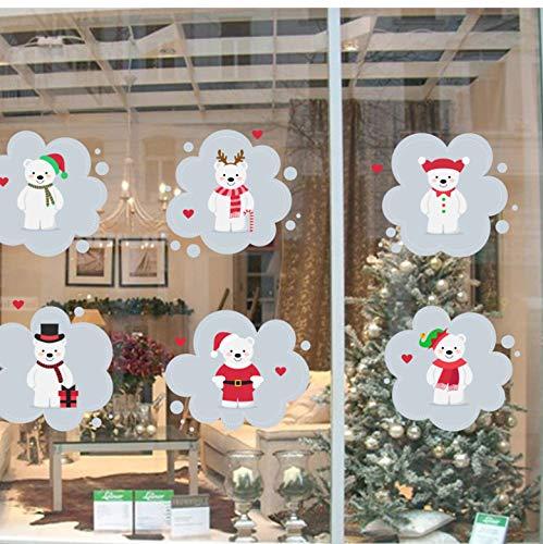 Orso adorabile Adesivi murali di felice anno nuovo Camerette per bambini Negozio Vetrina Adesivi murali di cartoni animati Arte murale Poster Regalo di Natale
