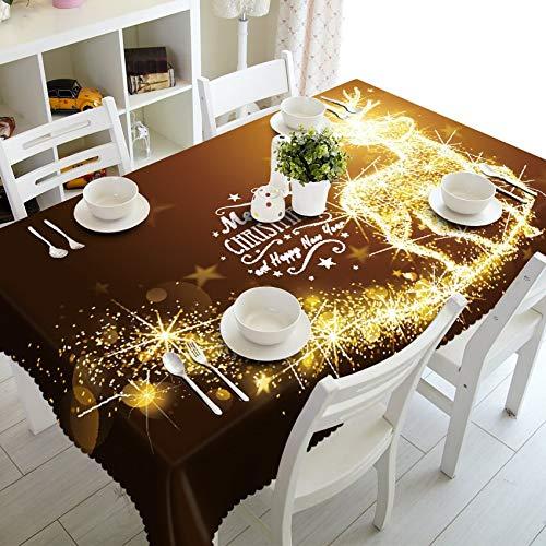 XXDD Mantel Redondo decoración Rojo año Nuevo Fuegos Artificiales 3D patrón Rectangular Boda Mantel de algodón hogar A5 140x210cm