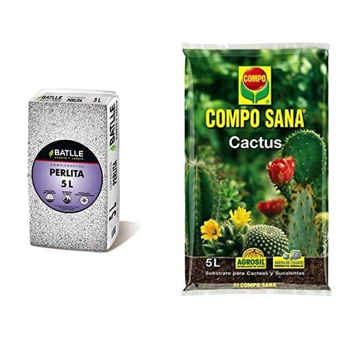 Sustratos - Sustrato Perlita 5L - Batlle + Compo Sana 8 semanas de abono para Todas Las Especies de Cactus y suculentas, Substrato de Cultivo, 5 L, 37x23x5.5 cm
