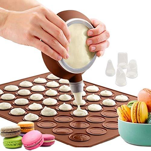 ZXT Tappetino in Silicone per Macaron,Stampo in Silicone Macarons,Macarons Tappetino da Forno in Silicone,48 Fori Macarons Tappetino in Silicone con Penna Decorativa e 4 Ugelli