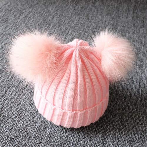 Niños Invierno Infantil Recién Nacido Niños Bebé Gorro de Punto de Lana Gorro con Dos Gorro de pompón Doble para niños Lindos Niña 1-3 años-1-3Y Pink-One Size