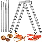 2 Pieces Nut Crackers and 4 Pieces Picks, Stainless Steel Nutcracker Silver Metal Shell Cracker for Seafood Nuts
