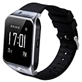 SMFR Latest smartwatch SIM Card Phone Watch Bluetooth Wristwatch with Camera and Headset Bracelet for Samsung Galaxy S4/S5/S6, HTC and iPhone 5, iPhone 6/6 Plus Smartphones (Silver)