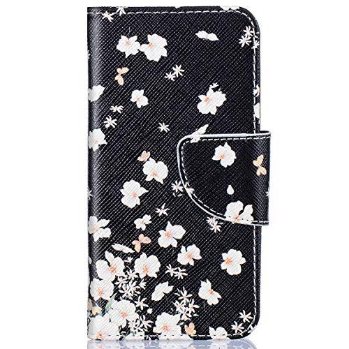 kompatibel mit Huawei Y5 II Hülle,Huawei Y6 II Compact Lederhülle,Huawei Y6 II Compact Tasche Leder Flip Hülle Brieftasche,Gelmat Muster Handyhülle Schutzhülle für Huawei Y5 II (Kleine Weiße Blumen)