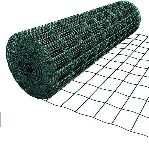 Amagabeli 1M X 25M Rete per Recinzione Zincata 50 x 100mm RAL6005 Plastificata Elettrosaldata Recinzione Rete Zincata Rete da Giardino HC04