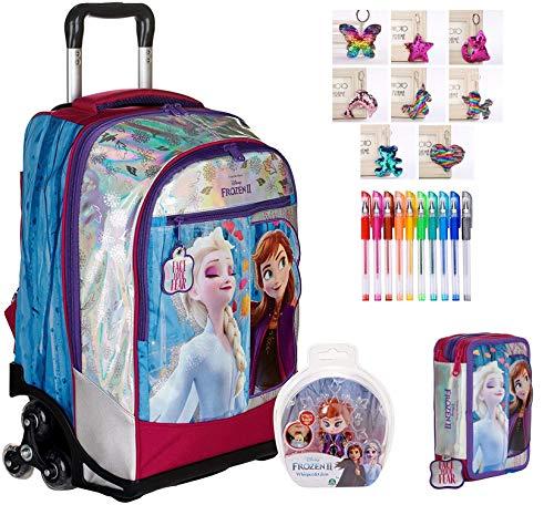 TROLLEY ZAINO SCUOLA Frozen II Anna ELsa 3 RUOTE nuova collezione + astuccio 3 zip completo + omaggio portachiave girabrilla + omaggio 10 penne glitterate