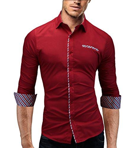 MERISH Herrenhemd Hemd Slim-Fit 4 Farben Größen S-XXL Trend Neu 92 Rot M