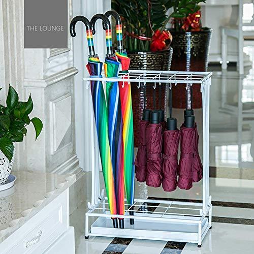 DDGOD Ferro Porta ombrelli,Metallo Portaombrelli Rettangolare Portaombrelli con Gancio Vassoio di Scarico Staccabile per canne Bastoni da Passeggio Hotel Ufficio-Bianca 24x45x60cm(9x18x24)