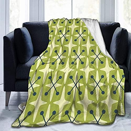 Cómodas, suaves y ligeras mantas de franela y sofás-moderno patrón de estrellas amarillo-verde a mediados del siglo 50 x 40 pulgadas