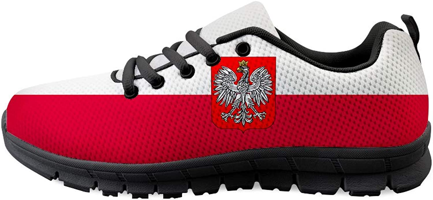 Owaheson Lace-up Sneaker Training shoes Mens Womens Poland Flag National Emblem