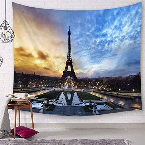 AdoDecor Tapiz Colgante de Pared París Famosa Torre de alfombras decoración navideña Pieza de exposición 150x200cm/59 * 79 Pulgadas
