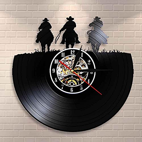 Wild West Horse Toda la decoración Three Cowboys Western Wall Art Reloj Reloj de Pared con Registro de Vinilo Caballo Rodeo Texas Boots Farmers Gifts 12 Pulgadas