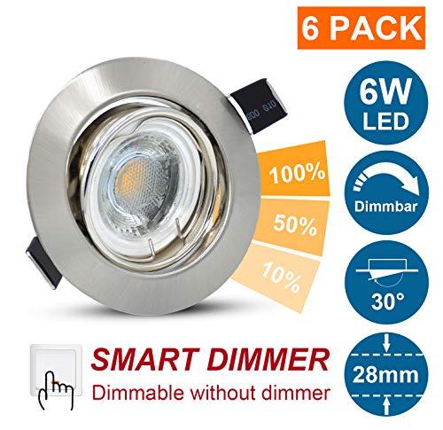 6er Set 6W LED Badeinbaustrahler Einbaustrahler Deckeneinbauleuchte, Mit IP44 Modul 230V, 500lm Ultra Flach Deckenstrahler Einbauspots, Dimmbar mit Gewöhnlichem Ein-/Aus-Schalter, Neutralweiß 4500K