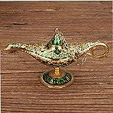 lujiaoshout Traje Genie Golden Green Classic Vintage Aladdin Ligera aleación de Zinc Apoyo mágico de la lámpara de Mesa Decoración Hogar