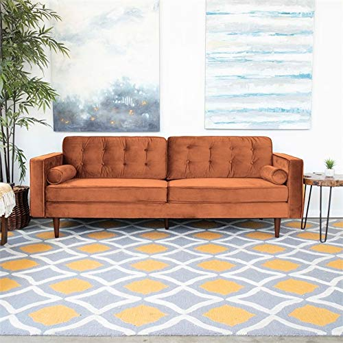 ASHCROFT Mid-Century Modern Harriet Burnt Orange Velvet Sofa