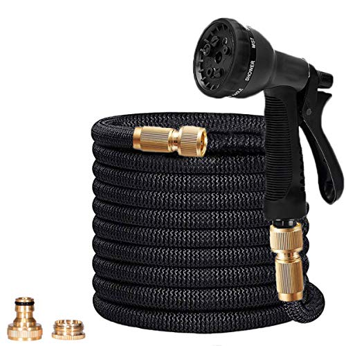 100FT Expanding Garden Hosepipe - Polyester Fabric Outer Layer Expands Up To 30 Metres With Solid Brass Connector For Home, Garden, Car Watering, Cleaning Yards and Showering Pets Best Gifts