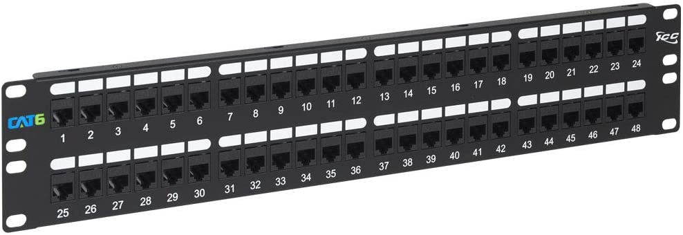 ICC CAT6 Feed-Through Patch Panel with 48 Ports and 2 RMS