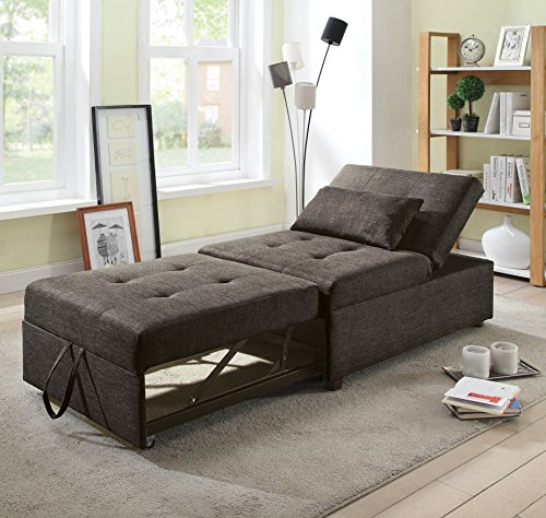 HOMES: Inside + Out Langston Contemporary Futon Ottoman, Dark Gray