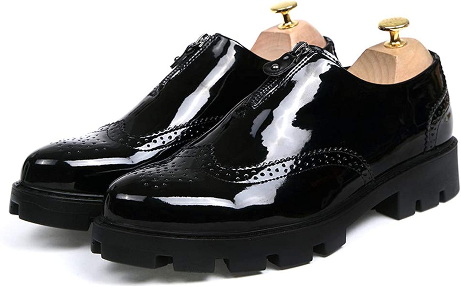 Easy Go Shopping Men's Business Oxford Casual Fashion Classic Height Increasing Insole Rust Zipper Outsole Brogue shoes(patent Leather Optional) Cricket shoes (color   Gloss Black, Size   8 UK)