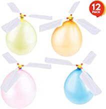 ArtCreativity Balloon Helicopters Set - Pack of 12 - Approximately 9 Inches - Colorful Fun Fly Toys for Indoors or Outdoors - Great Birthday Party Favors, Goodie Bag Fillers, Gift Idea for Boys and Girls