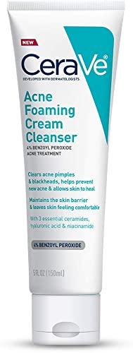 CeraVe Acne Foaming Cream Cleanser | Acne Treatment Face Wash with 4% Benzoyl Peroxide, Hyaluronic Acid, and Niacinam...