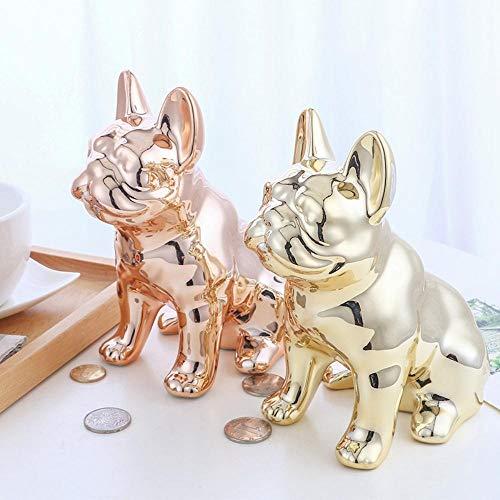 EDCV Spaarpot desktop decoratie Keramiek ambachten spiegel cartoon puppy spaarpot toegang spaarvarken, Rose goud