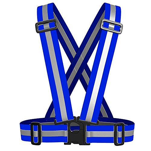 ZTKBG veiligheidsvest reflecterende hoge zichtbaarheid blauwe gordel tape elastische en verstelbare reflector geschikt voor hardlopen lopen joggen fietsen motorfiets