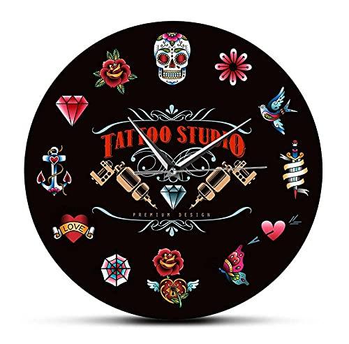 Tattoo Studio Premium Design Reloj de Pared Moderno Negro sin tictac Estilo Vintage Hipster Hombres Salón Estudio Tatuador Artista Regalo (30Cm)