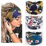 Yean - Fascia per capelli da yoga in stile boho, con stampa floreale e turbante, alla moda...