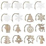 Ulikey 26 Piezas Colgantes de Madera para Navidad, Copo de Nieve de Madera de Navidad Ornamentos de Navidad, Adornos Colgantes Navidad Madera para Arte Fiesta Decoración de árbol de Navidad (B)