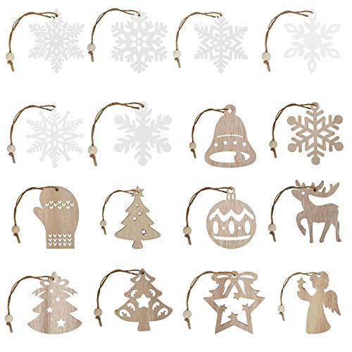 Ulikey 26PCS Bois Pendentif Arbre de Noël Ornements, Flocon de Neige DIY Décorations de Noël en Bois Pendentif Décorations pour Décoration de Bricolage Arbre de Noël, DIY Artisanat Cadeaux (B)