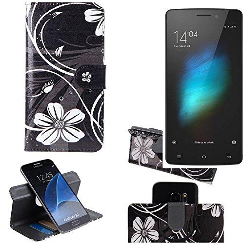 K-S-Trade Schutzhülle Für Cubot X12 Hülle 360° Wallet Hülle Schutz Hülle ''Flowers'' Smartphone Flip Cover Flipstyle Tasche Handyhülle Schwarz-weiß 1x