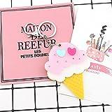 Baby-lustiges Spielzeug Mini-Eis-Form-Handspiegel-kleine Glasspiegel für das Handwerks-Dekoration-Kosmetikzubehör-Gelb und Rosa