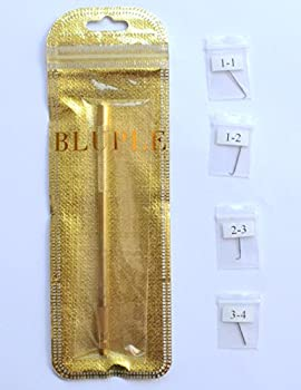 Bluple 1pc Brass Holder and 4pcs Different Size Ventilating Needles  1-1 1-2 2-3 3-4  for Wigs Making  Needles Kit One Set