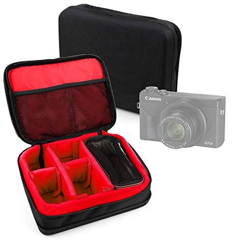 DURAGADGET Bolsa Acolchada Profesional Negra con Compartimentos e Interior en Rojo Compatible con Cámara Canon PowerShot G5 X Mark II, Canon PowerShot G7 X Mark III