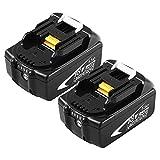 2 Pack BL1860B Reemplazo Batería para 18V BL1860 BL1840 BL1830 BL1815 BL1835 BL1845 LXT-400 Herramientas eléctricas inalámbricas con indicador