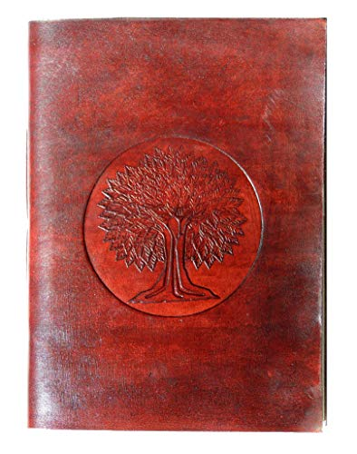 Handmade Leather Diary Celtic Tree of Life Journal Embossed Gift for Yourself Or Someone You Love, Leather Journal Notebook - Size 10' x 7', Brown
