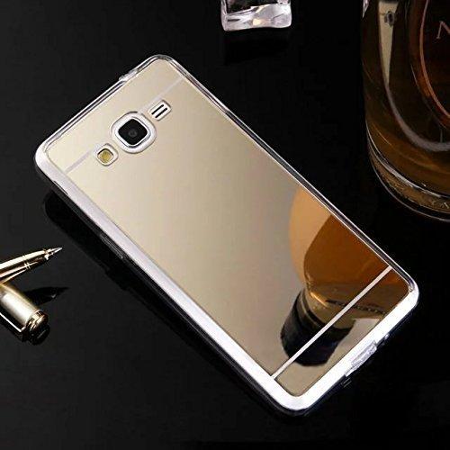 Coque Compatible avec Samsung Galaxy J1 2016 Étui KunyFond Miroir Silicone TPU Effet Etui Housse Homme Femme Paillette Strass Brillante Bling Glitter