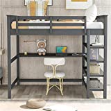 Full Size Loft Bed , Loft Bed with Desk and Storage Shelves, Wooden Full Size Loft Bed with Desk , No Box Spring Needed (Full,Gray with Shelves )