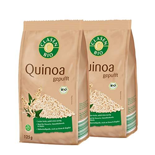 2x CLASEN BIO Quinoa, gepufft - von Natur aus vegan und glutenfrei, für Müslis, biologischer Anbau - 125 g